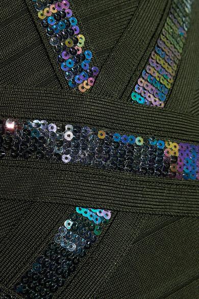 Hervé Léger Paillettenverziertes Minikleid aus Bandage mit Neckholder