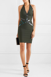 Hervé Léger Sequin-embellished halterneck bandage mini dress