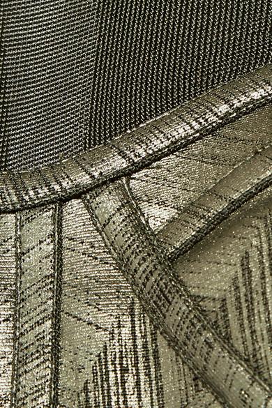 Hervé Léger Oberteil aus Bandage und Stretch-Strick mit Metallic-Effekt