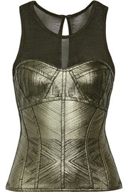 Hervé Léger Metallic bandage and stretch-knit top