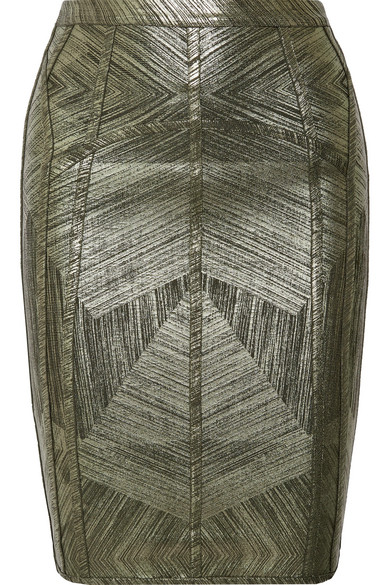 Hervé Léger Cadi Bleistiftrock aus Bandage in Metallic-Optik