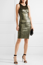 Cadi metallic stretch pencil skirt