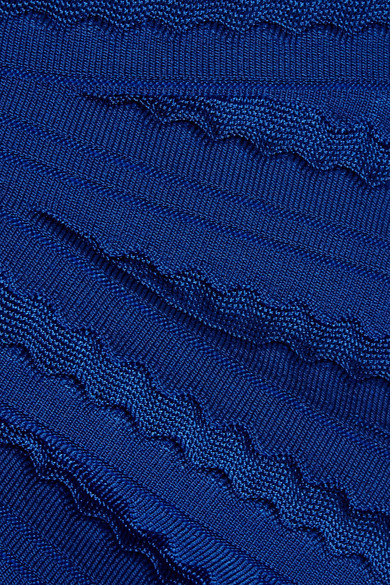 Hervé Léger Margo schulterfreies Kleid aus Bandage mit Pointelle-Streifen