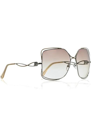 31368501be794 Balenciaga. Oversize square-frame metal sunglasses