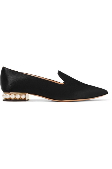 Nicholas Kirkwood - Casati Embellished Satin Loafers - Black