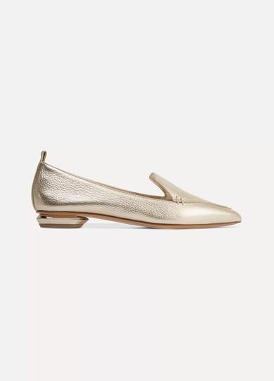 Cheap Best Discount Wide Range Of Beya Metallic Textured-leather Point-toe Flats - Gold Nicholas Kirkwood QPHevc