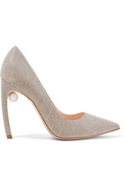 Mira embellished textured-lamé pumps