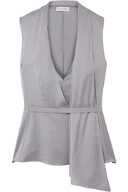 Narciso Rodriguez Draped silk-satin twill top