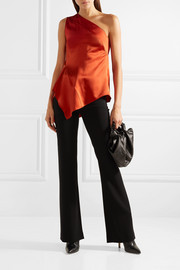 Narciso Rodriguez One-shoulder draped silk-charmeuse top