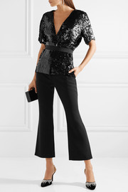 Narciso Rodriguez Belted sequined silk blouse