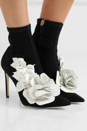 Sophia Webster Jumbo Lilico floral-appliquéd leather and suede ankle boots