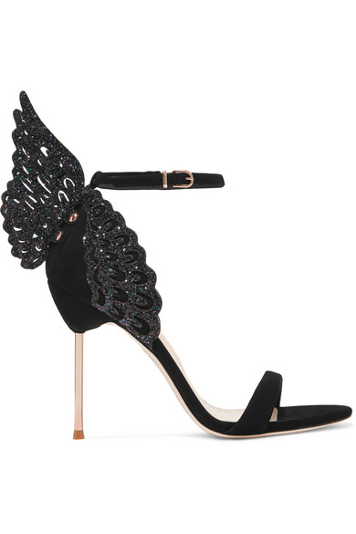Evangeline Glittered Suede Sandals - Black Sophia Webster SdKt7yP7t