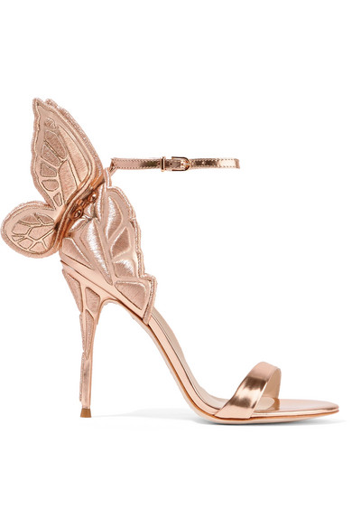 Sophia Webster Chiara bestickte Sandalen aus Metallic-Leder