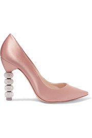Coco crystal-embellished satin pumps