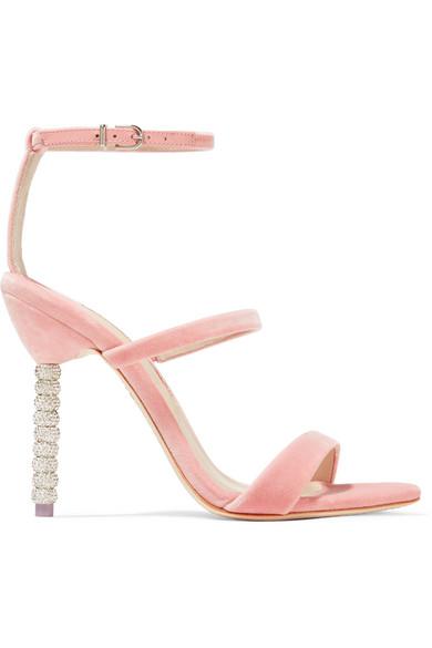 Sophia Webster - Rosalind Crystal-embellished Velvet Sandals - Antique rose at NET-A-PORTER