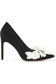 Sophia Webster Jumbo Lilico floral-appliquéd suede pumps
