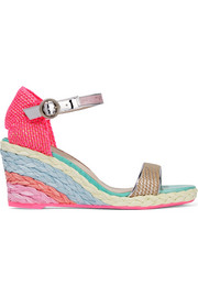 Lucita leather-trimmed woven canvas wedge espadrilles