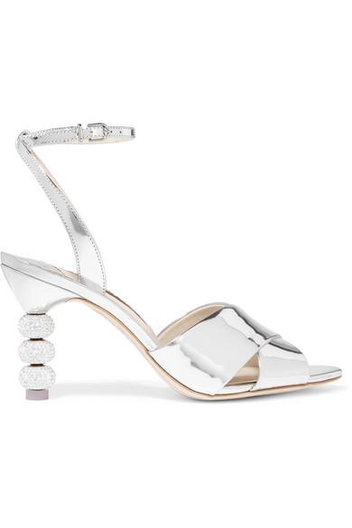 Sophia Webster - Natalia Crystal-embellished Metallic Leather Sandals - Silver at NET-A-PORTER