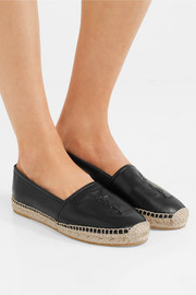 Saint Laurent Logo-embossed textured-leather espadrilles