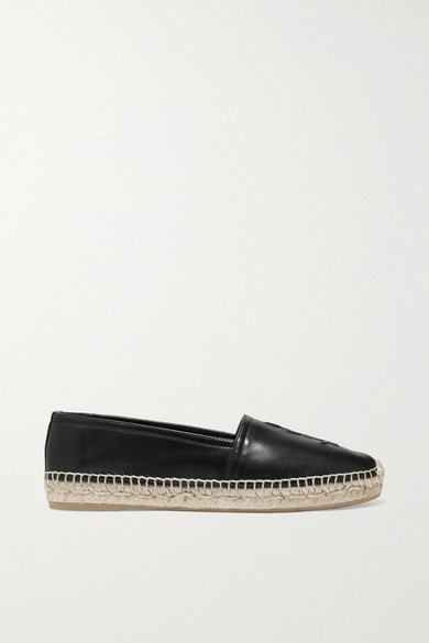 Logo-Embossed Textured-Leather Espadrilles in Black