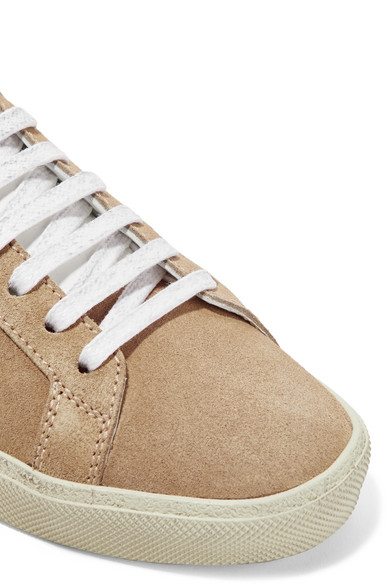 Saint Laurent Sneakers aus Veloursleder mit Lederbesätzen und Stickerei