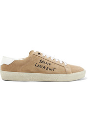 Saint Laurent Leather-trimmed embroidered suede sneakers