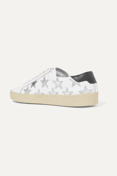 Court Classic Appliquéd Metallic-trimmed Leather Sneakers - White Saint Laurent XvB8vo1ySq