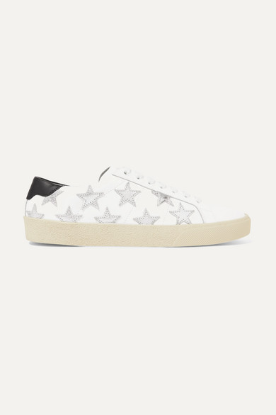 Saint Laurent Low-Top Sneakers Star Smooth Leather Star Pattern Silver White