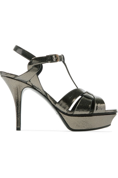 TRIBUTE METALLIC CRACKED-LEATHER PLATFORM SANDALS