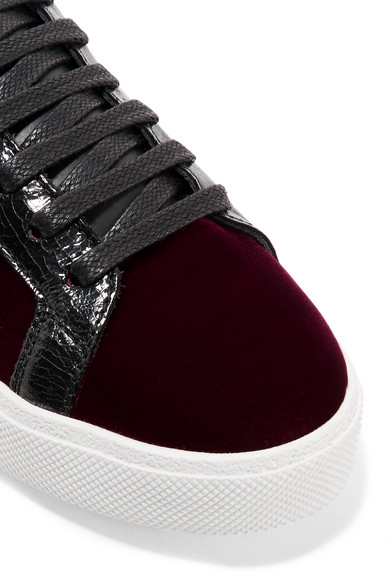 Großhandelspreis Zu Verkaufen Spielraum Erhalten Authentisch Saint Laurent Court Classic Sneakers aus Samt mit Applikationen und Lederbesätzen Outlet Rabatte Äußerst 1fMGMkxX