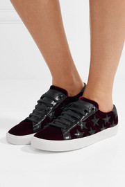 Saint Laurent Court Classic appliquéd leather-trimmed velvet sneakers