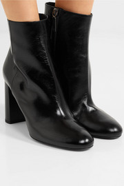 Saint Laurent Loulou glossed-leather ankle boots