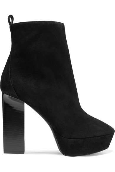 Palm Angels Black Suede Loulou Heeled Boots Bj2a5d6