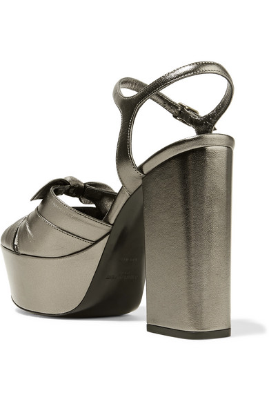 Farrah Bow-embellished Metallic Leather Platform Sandals - Gunmetal Saint Laurent 85AQVI5