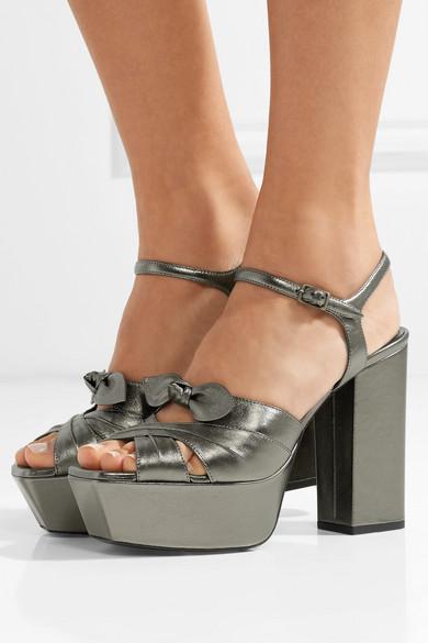 Farrah Bow-embellished Metallic Leather Platform Sandals - Gunmetal Saint Laurent mH67eXS3