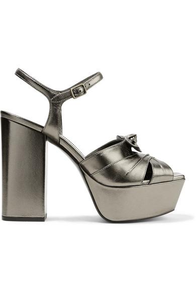 Farrah Bow-Embellished Metallic Leather Platform Sandals in Gunmetal