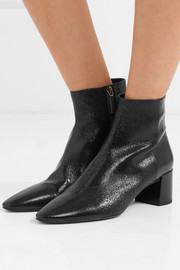 Saint Laurent Loulou cracked glossed-leather ankle boots