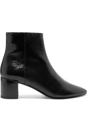 Loulou cracked glossed-leather ankle boots