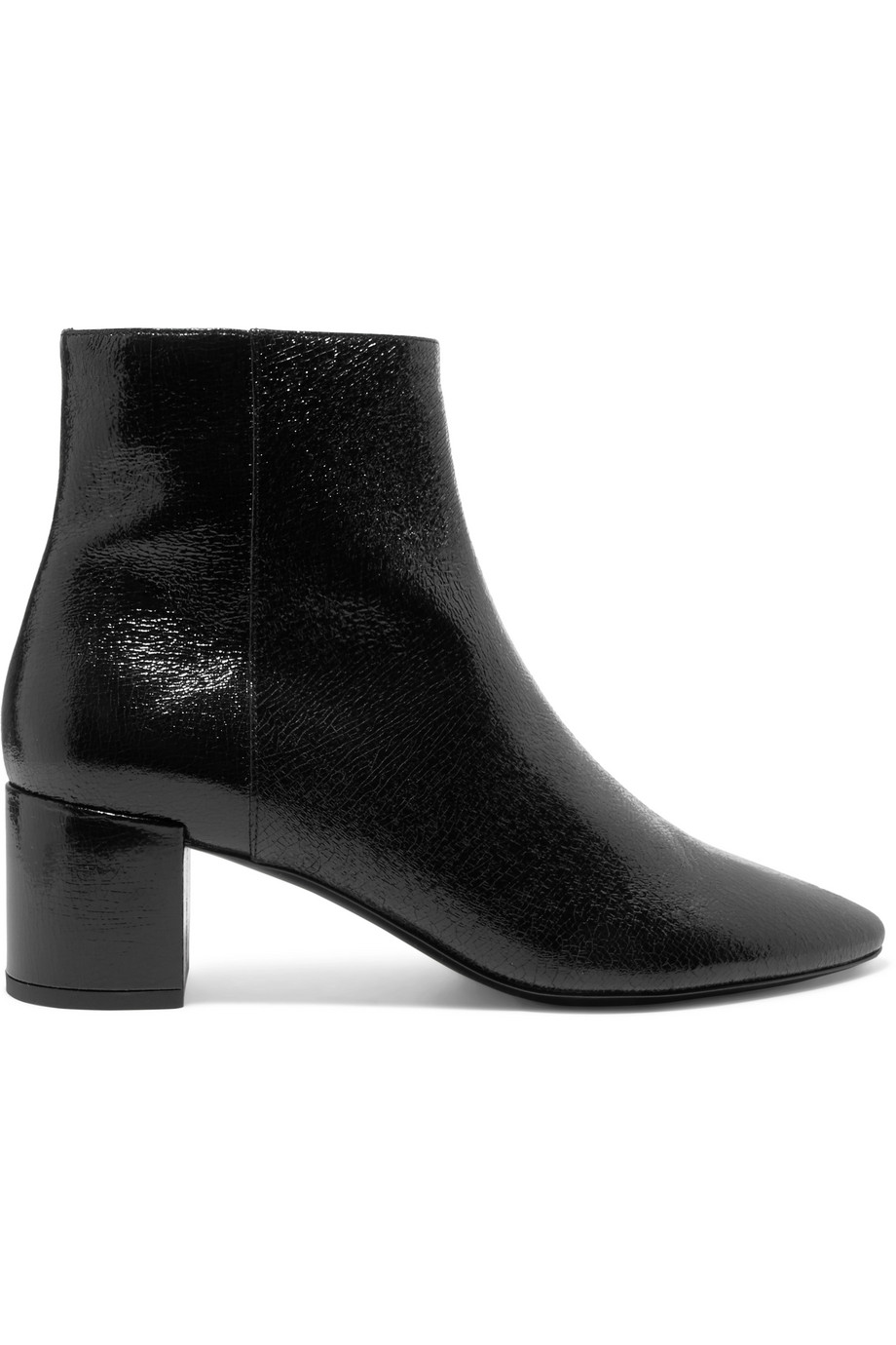Lou cracked glossed-leather ankle boots