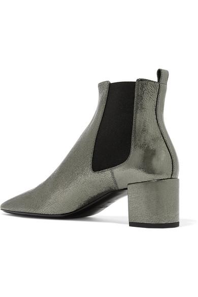 Saint Laurent Loulou Ankle Boots aus Craquelé-Leder mit Metallic-Effekt