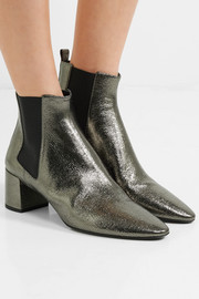 Saint Laurent Loulou metallic cracked-leather ankle boots