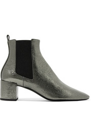Saint Laurent Lou metallic cracked-leather ankle boots