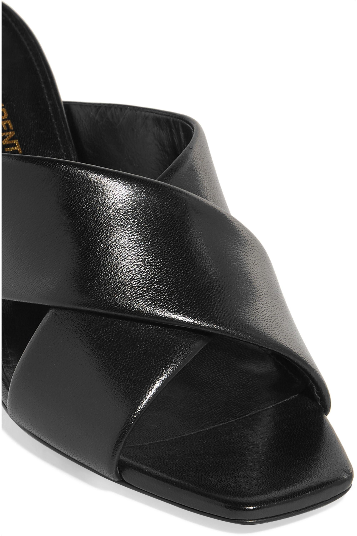 SAINT LAURENT Loulou leather mules