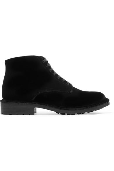 Saint Laurent - William Velvet Ankle Boots - Black