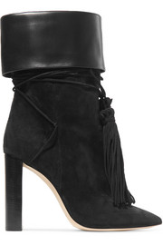 Saint Laurent Tanger leather-trimmed tasseled suede ankle boots