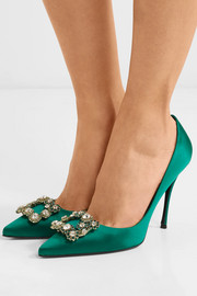 Flower crystal-embellished satin pumps