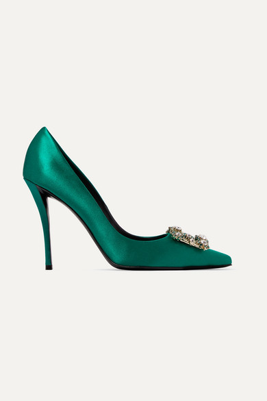 Roger Vivier Flower Crystal-Embellished Satin Pumps In Emerald
