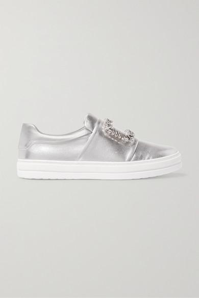 Sneaky Viv Crystal-Embellished Metallic Leather Slip-On Sneakers in Silver