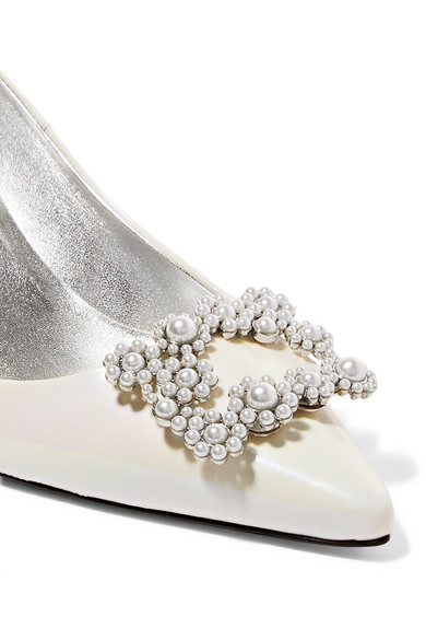Roger Vivier Sin Flower Pumps From Iridescent Patent Leather With Art Beads Ornament