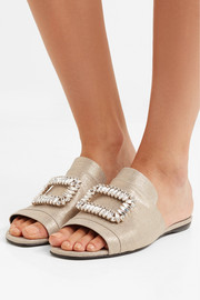 Crystal-embellished metallic canvas slides
